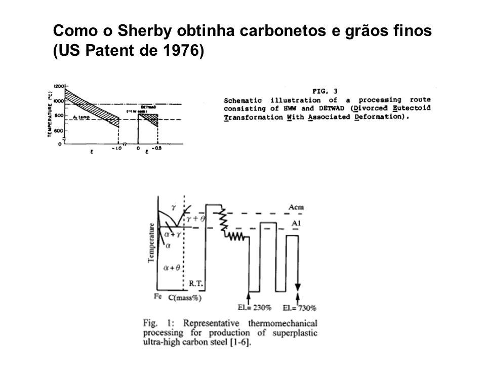 Como o Sherby obtinha carbonetos e grãos finos (US Patent de 1976)