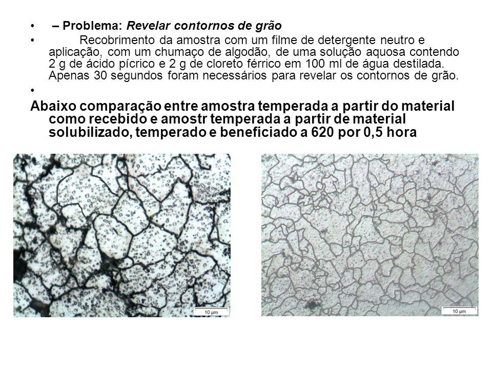 – Problema: Revelar contornos de grão Recobrimento da amostra com um filme de detergente neutro e aplicação, com um chumaço de algodão, de uma solução