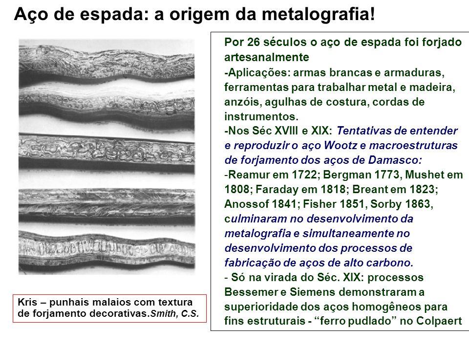Kris – punhais malaios com textura de forjamento decorativas. Smith, C.S. Por 26 séculos o aço de espada foi forjado artesanalmente -Aplicações: armas