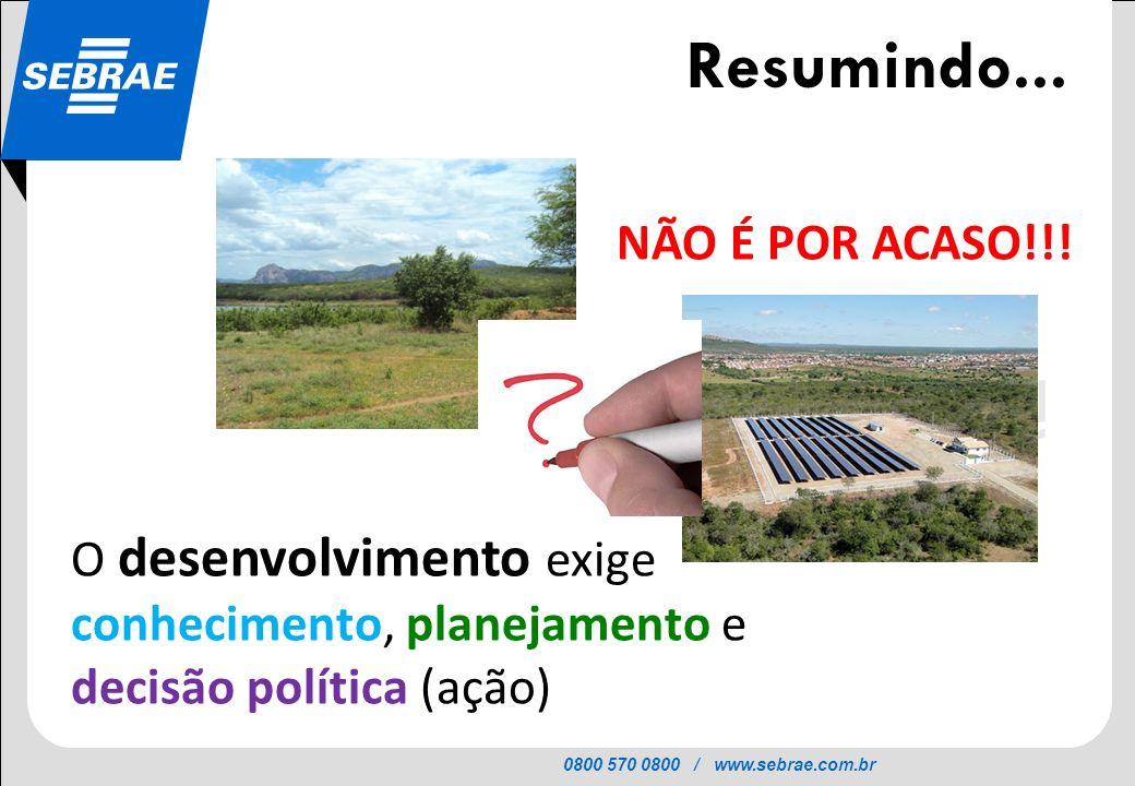 0800 570 0800 / www.sebrae.com.br SEBRAE Resumindo... NÃO É POR ACASO!!! O desenvolvimento exige conhecimento, planejamento e decisão política (ação)