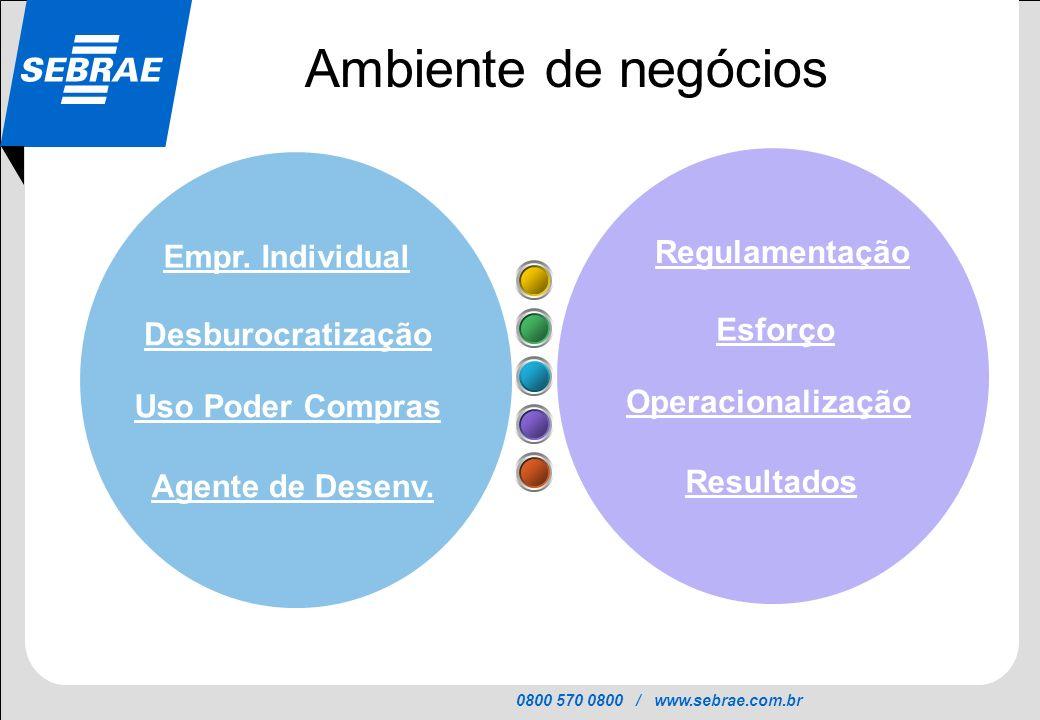 0800 570 0800 / www.sebrae.com.br SEBRAE Empr. Individual Desburocratização Uso Poder Compras Agente de Desenv. Regulamentação Esforço Operacionalizaç