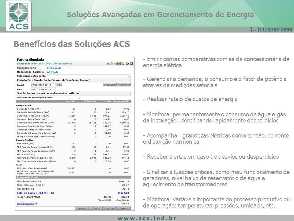 Benefícios das Soluções ACS - Emitir contas comparativas com as da concessionária de energia elétrica - Gerenciar a demanda, o consumo e o fator de po