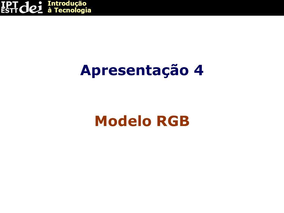 Introdução à Tecnologia Apresentação 4 Modelo RGB