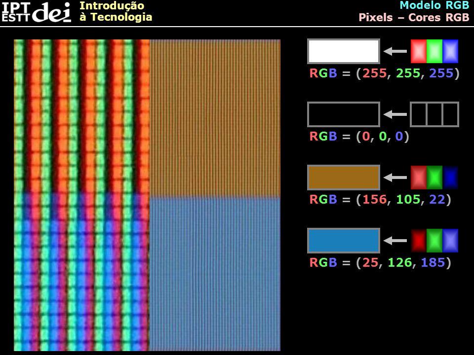 Introdução à Tecnologia Modelo RGB Pixels – Cores RGB RGB = (255, 255, 255) RGB = (0, 0, 0) RGB = (156, 105, 22) RGB = (25, 126, 185)
