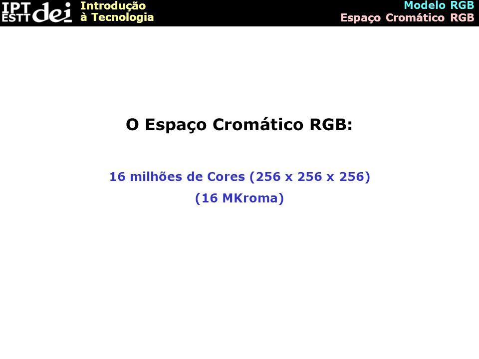 Introdução à Tecnologia Modelo RGB Espaço Cromático RGB O Espaço Cromático RGB: 16 milhões de Cores (256 x 256 x 256) (16 MKroma)