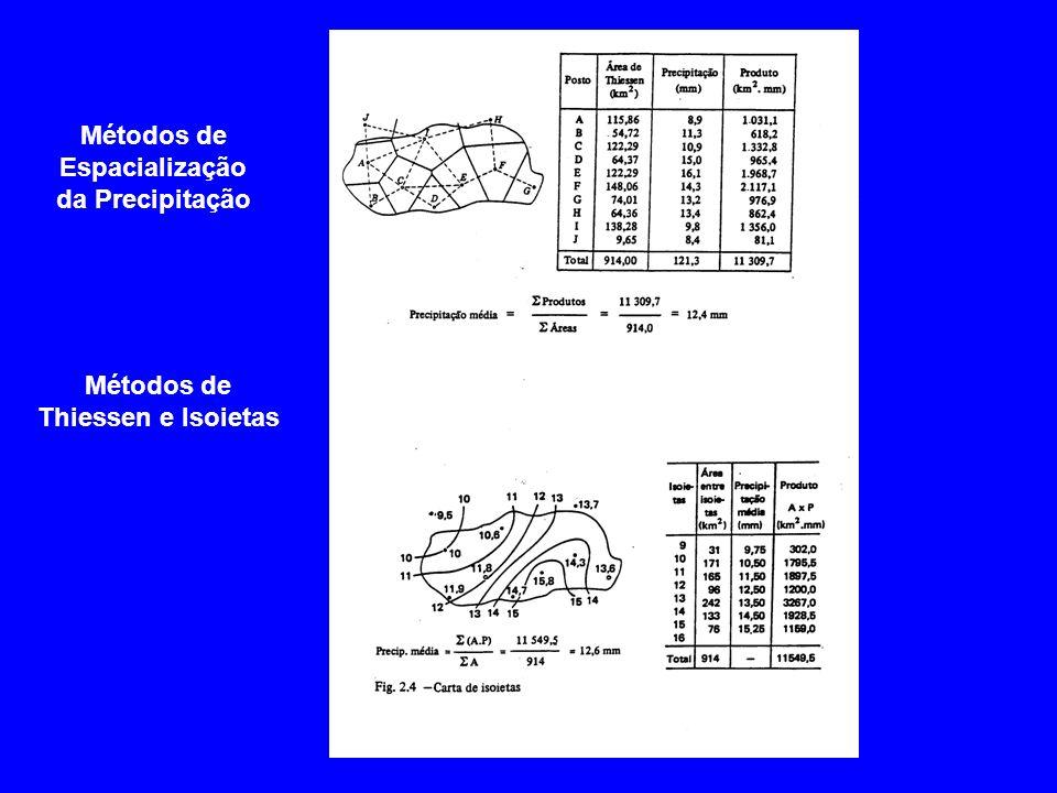 Métodos de Espacialização da Precipitação Métodos de Thiessen e Isoietas