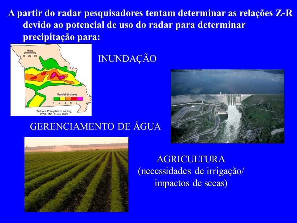 A partir do radar pesquisadores tentam determinar as relações Z-R devido ao potencial de uso do radar para determinar precipitação para: INUNDAÇÃO GERENCIAMENTO DE ÁGUA AGRICULTURA (necessidades de irrigação/ impactos de secas)