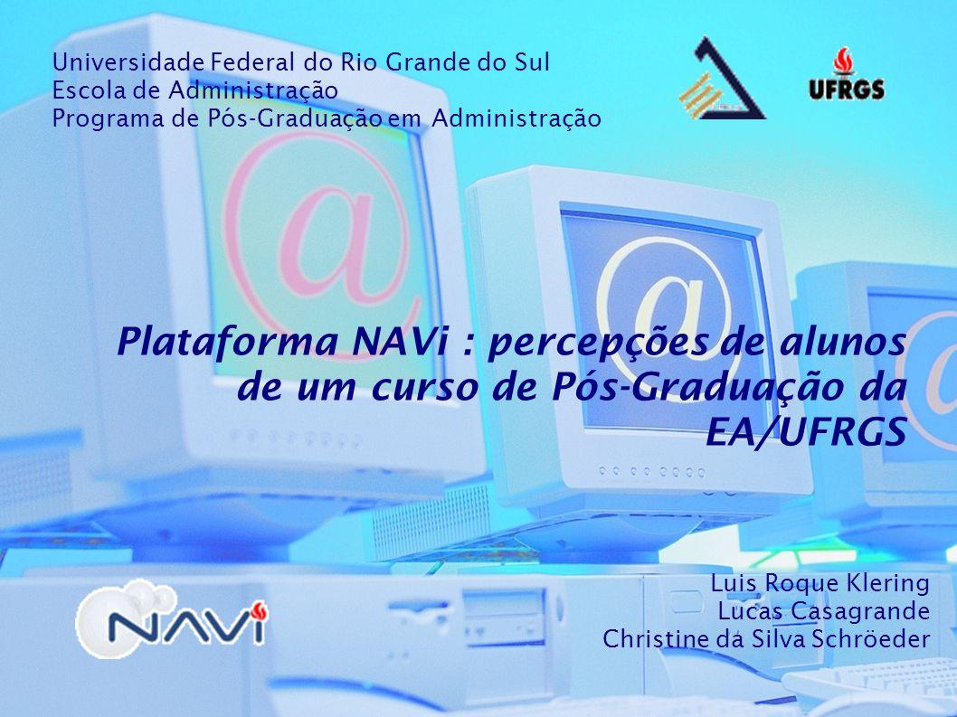 Curso: Especialização em Gestão de Negócios Financeiros (GNF-BB) Versão da Plataforma NAVi: NAVi 3 - penúltima http://eavirtual.ea.ufrgs.br/bb (Pesquisa realizada no segundo semestre de 2007 – 180 respondentes)