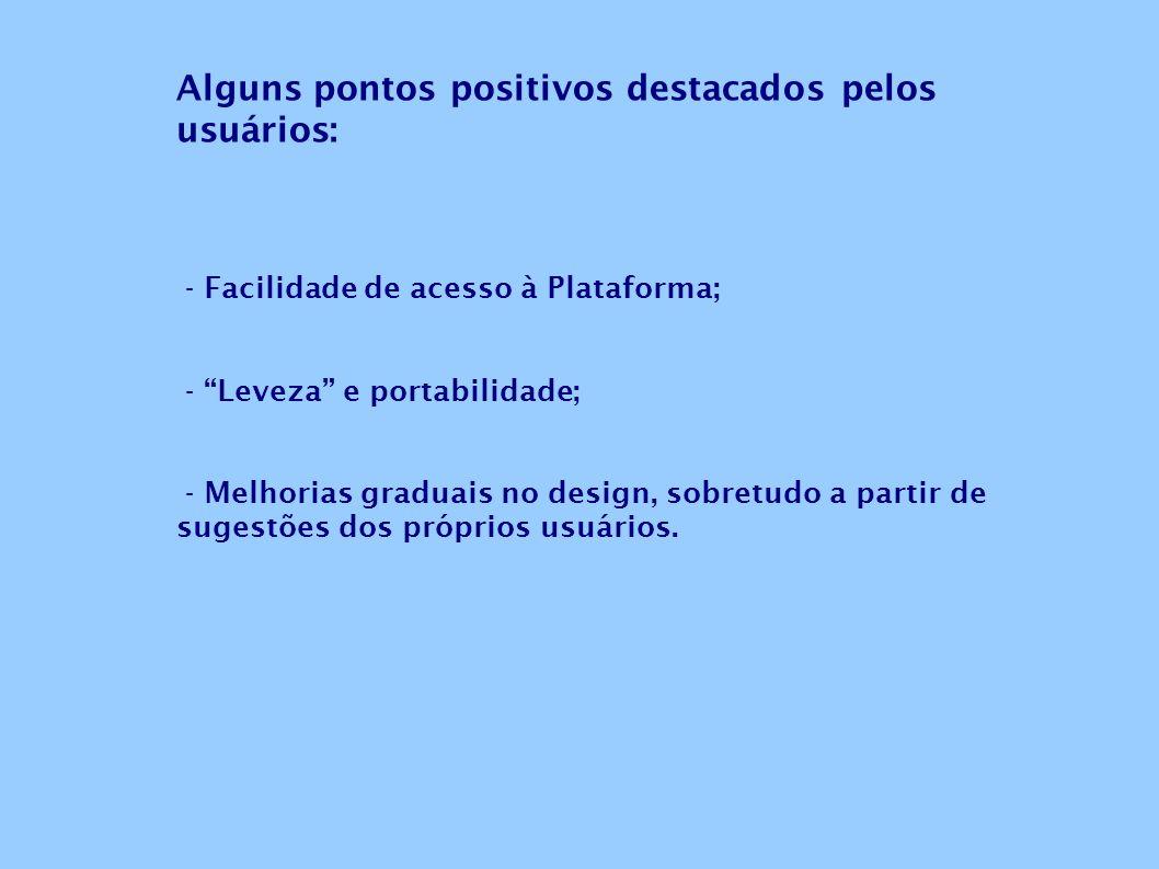 Alguns pontos positivos destacados pelos usuários: - Facilidade de acesso à Plataforma; - Leveza e portabilidade; - Melhorias graduais no design, sobr
