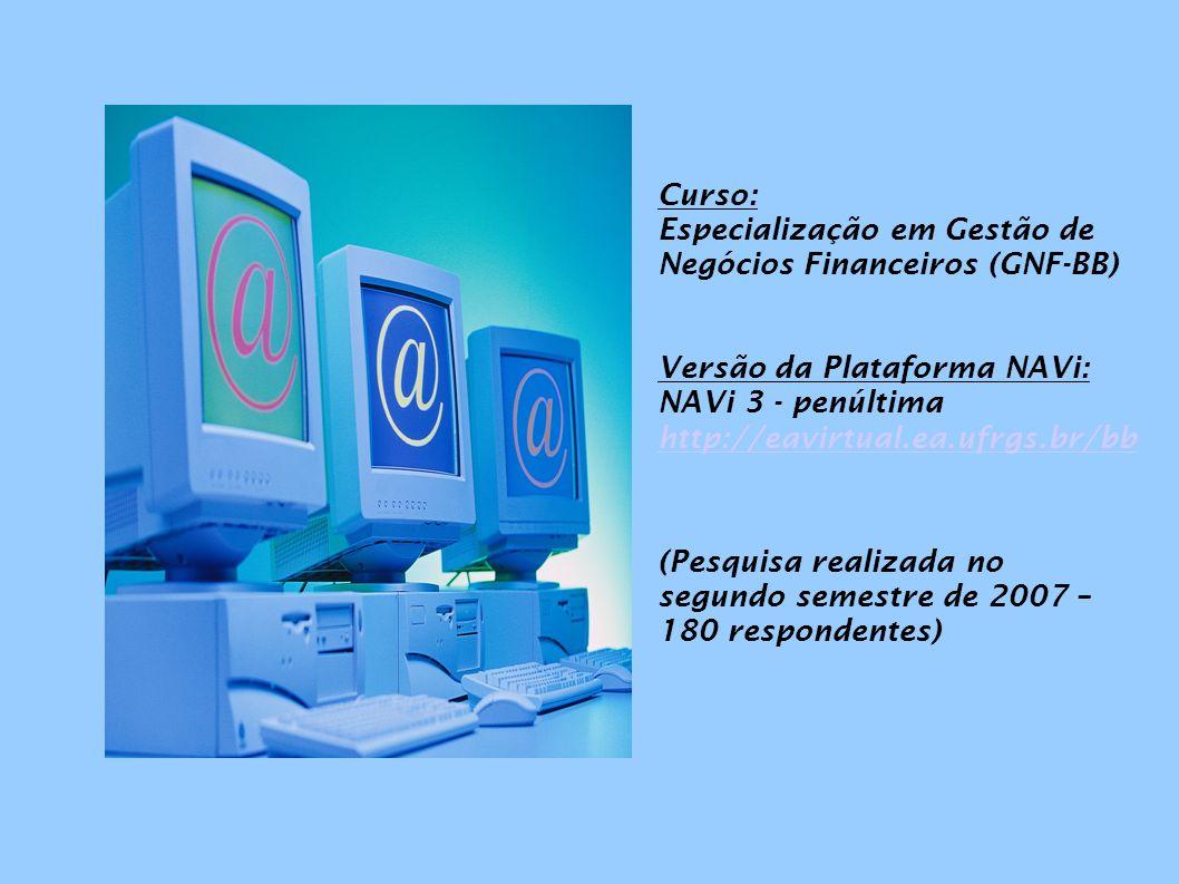 Curso: Especialização em Gestão de Negócios Financeiros (GNF-BB) Versão da Plataforma NAVi: NAVi 3 - penúltima http://eavirtual.ea.ufrgs.br/bb (Pesqui