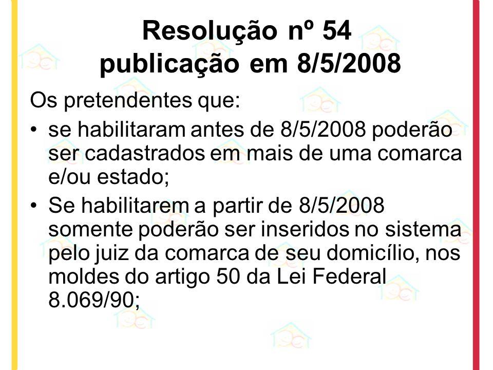 Resolução nº 54 publicação em 8/5/2008 Os pretendentes que: se habilitaram antes de 8/5/2008 poderão ser cadastrados em mais de uma comarca e/ou estad