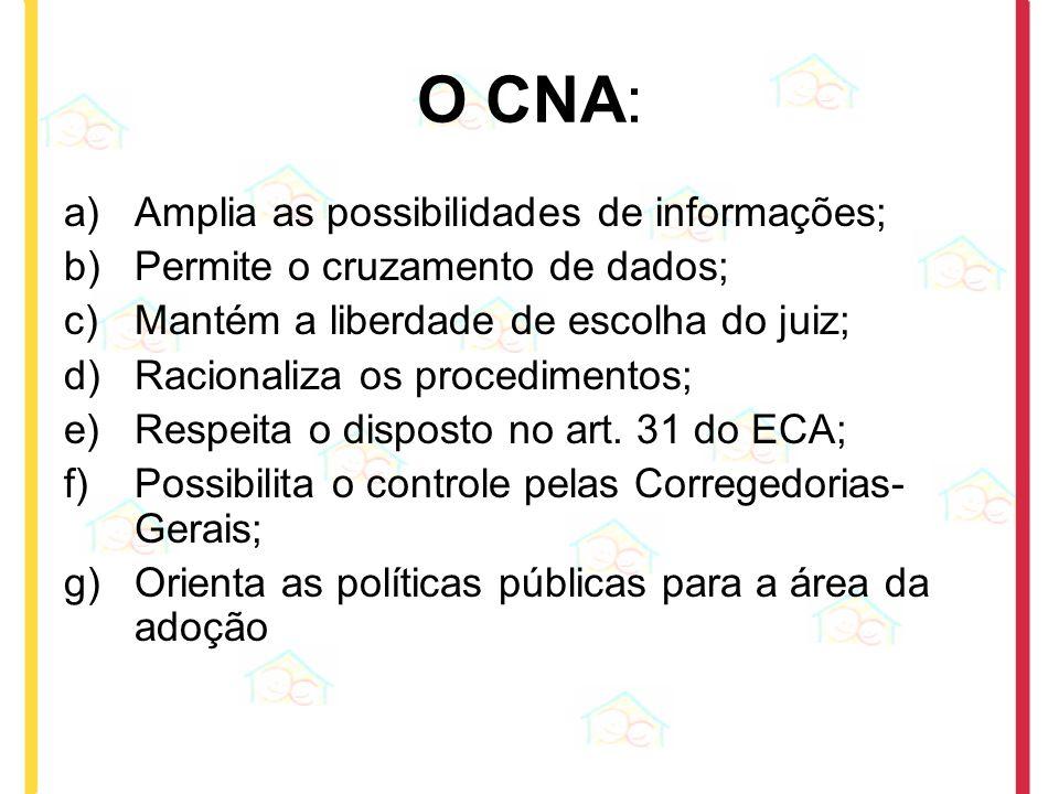 O CNA: a)Amplia as possibilidades de informações; b)Permite o cruzamento de dados; c)Mantém a liberdade de escolha do juiz; d)Racionaliza os procedime