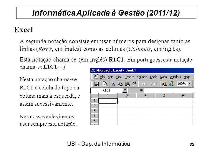 Informática Aplicada à Gestão (2011/12) UBI - Dep.
