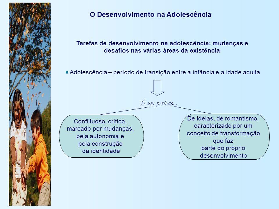 O Desenvolvimento na Adolescência Tarefas de desenvolvimento na adolescência: mudanças e desafios nas várias áreas da existência Adolescência – períod