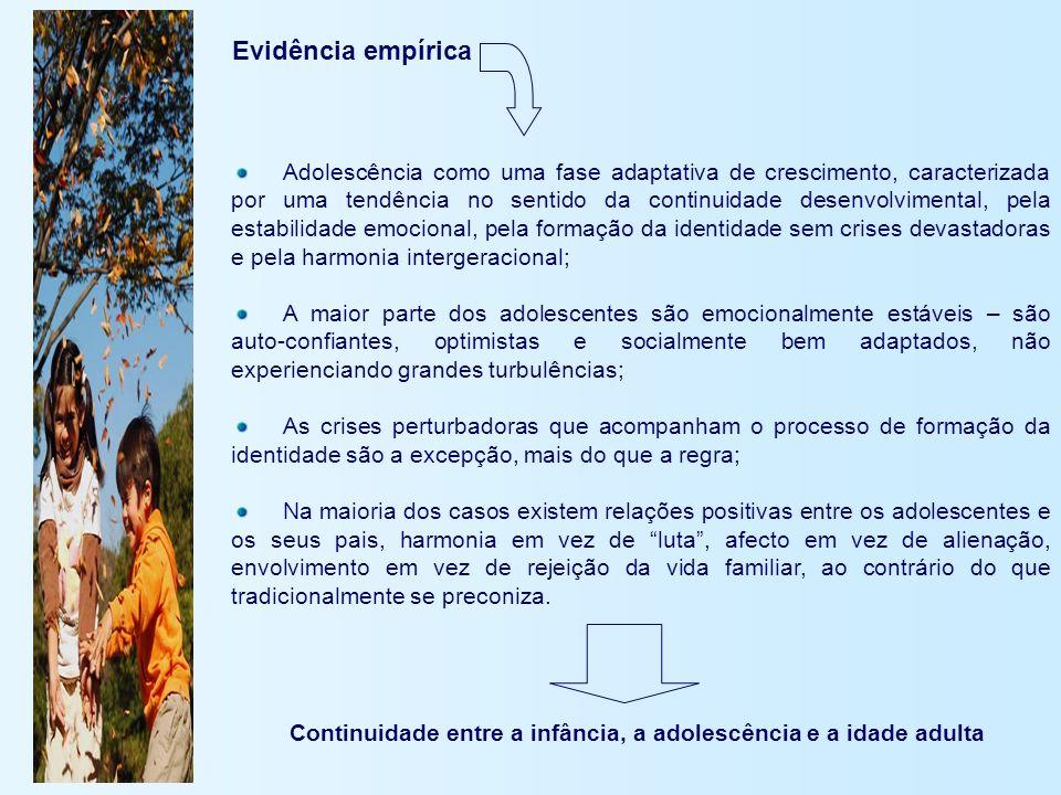 Evidência empírica Adolescência como uma fase adaptativa de crescimento, caracterizada por uma tendência no sentido da continuidade desenvolvimental,
