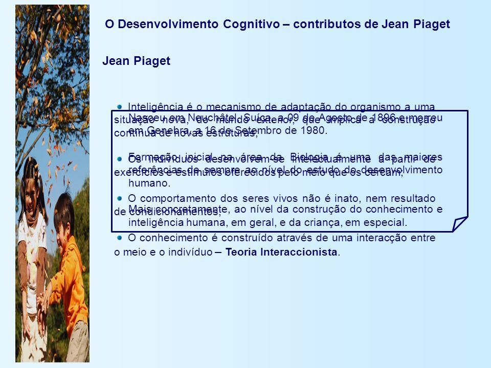 O Desenvolvimento Cognitivo – contributos de Jean Piaget Nasceu em Neuchâtel, Suíça, a 09 de Agosto de 1896 e morreu em Genebra, a 16 de Setembro de 1