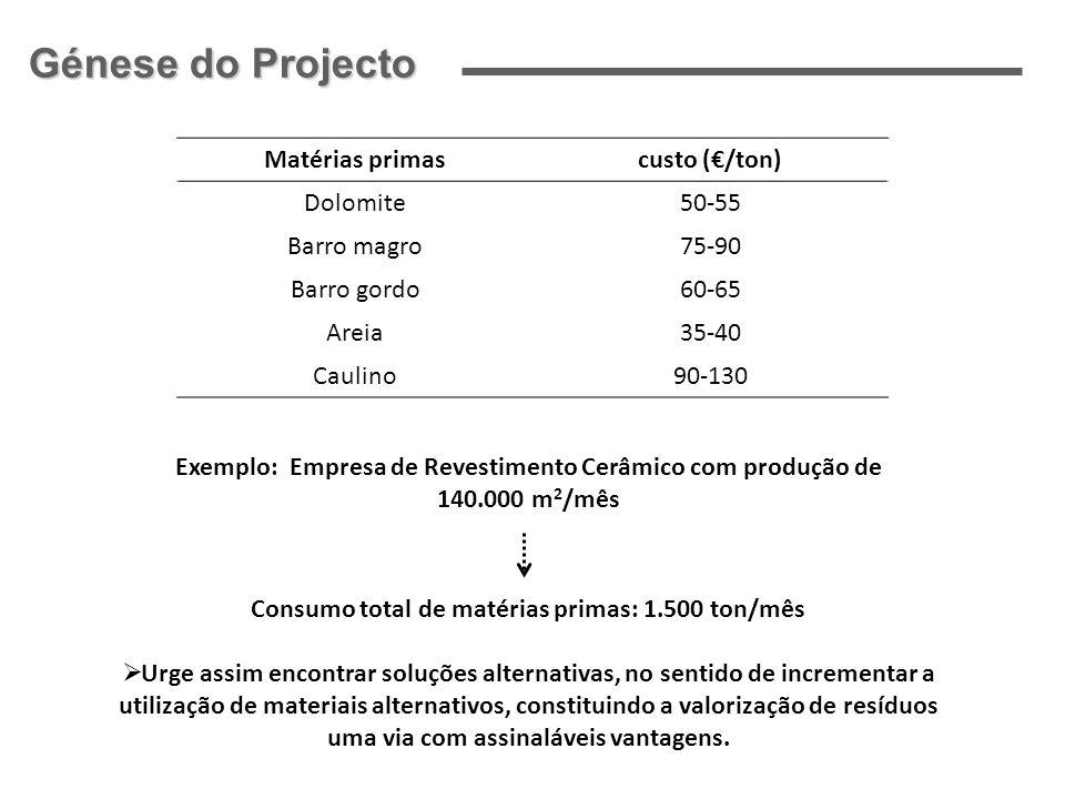 Matérias primascusto (/ton) Dolomite50-55 Barro magro75-90 Barro gordo60-65 Areia35-40 Caulino90-130 Exemplo: Empresa de Revestimento Cerâmico com pro