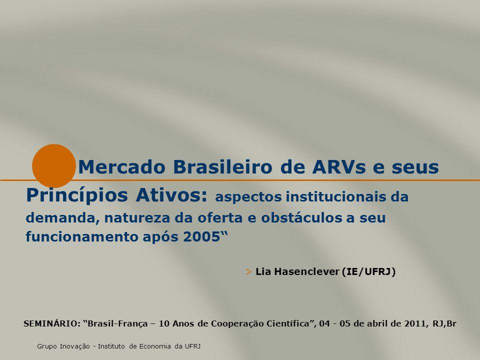 Mercado Brasileiro de ARVs e seus Princípios Ativos: aspectos institucionais da demanda, natureza da oferta e obstáculos a seu funcionamento após 2005 > Lia Hasenclever (IE/UFRJ) Grupo Inovação - Instituto de Economia da UFRJ SEMINÁRIO: Brasil-França – 10 Anos de Cooperação Científica, 04 - 05 de abril de 2011, RJ,Br