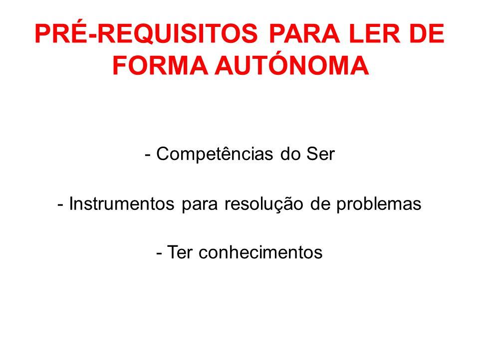 PRÉ-REQUISITOS PARA LER DE FORMA AUTÓNOMA - Competências do Ser - Instrumentos para resolução de problemas - Ter conhecimentos