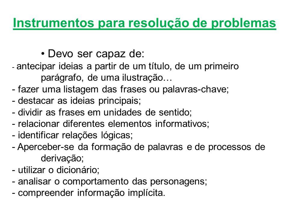 Instrumentos para resolução de problemas Devo ser capaz de: - antecipar ideias a partir de um título, de um primeiro parágrafo, de uma ilustração… - f