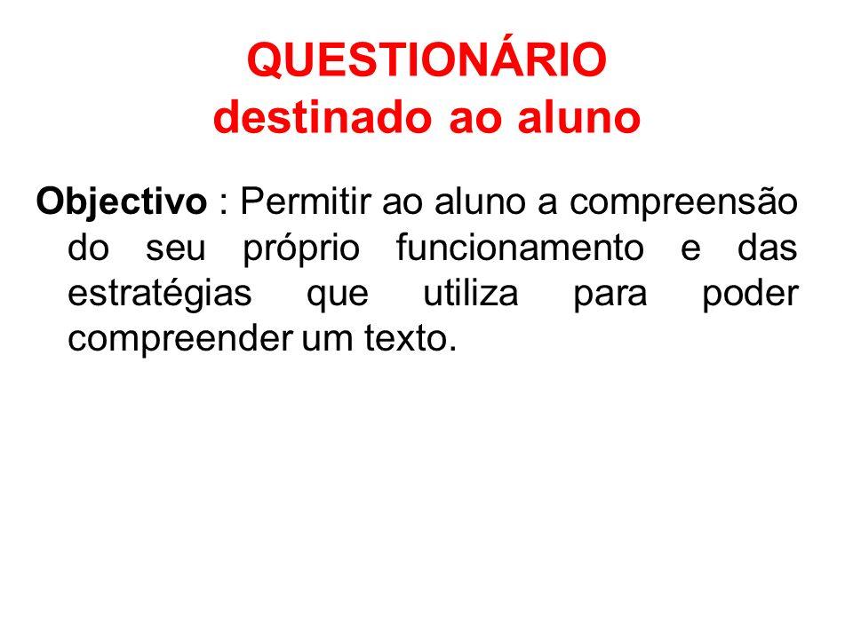 Objectivo : Permitir ao aluno a compreensão do seu próprio funcionamento e das estratégias que utiliza para poder compreender um texto. QUESTIONÁRIO d