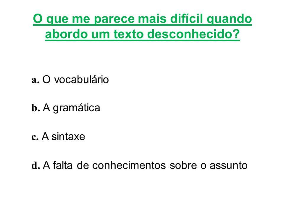 O que me parece mais difícil quando abordo um texto desconhecido? a. O vocabulário b. A gramática c. A sintaxe d. A falta de conhecimentos sobre o ass