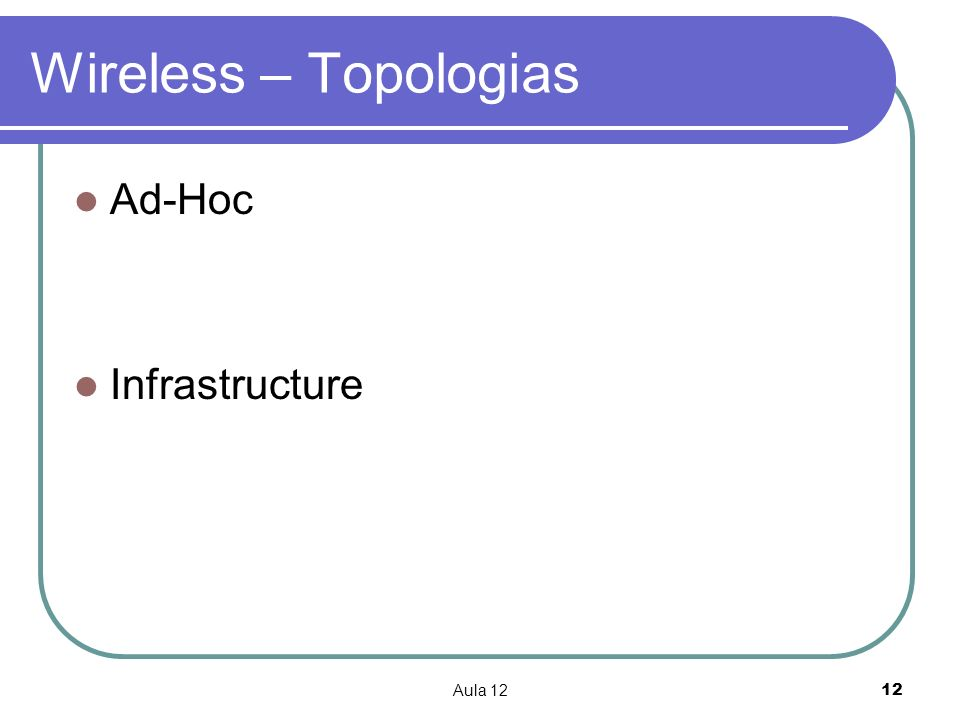 Aula 1212 Wireless – Topologias Ad-Hoc Infrastructure