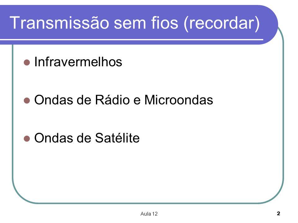 Aula 122 Transmissão sem fios (recordar) Infravermelhos Ondas de Rádio e Microondas Ondas de Satélite