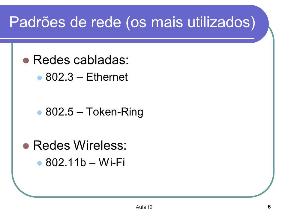 Aula 126 Padrões de rede (os mais utilizados) Redes cabladas: 802.3 – Ethernet 802.5 – Token-Ring Redes Wireless: 802.11b – Wi-Fi