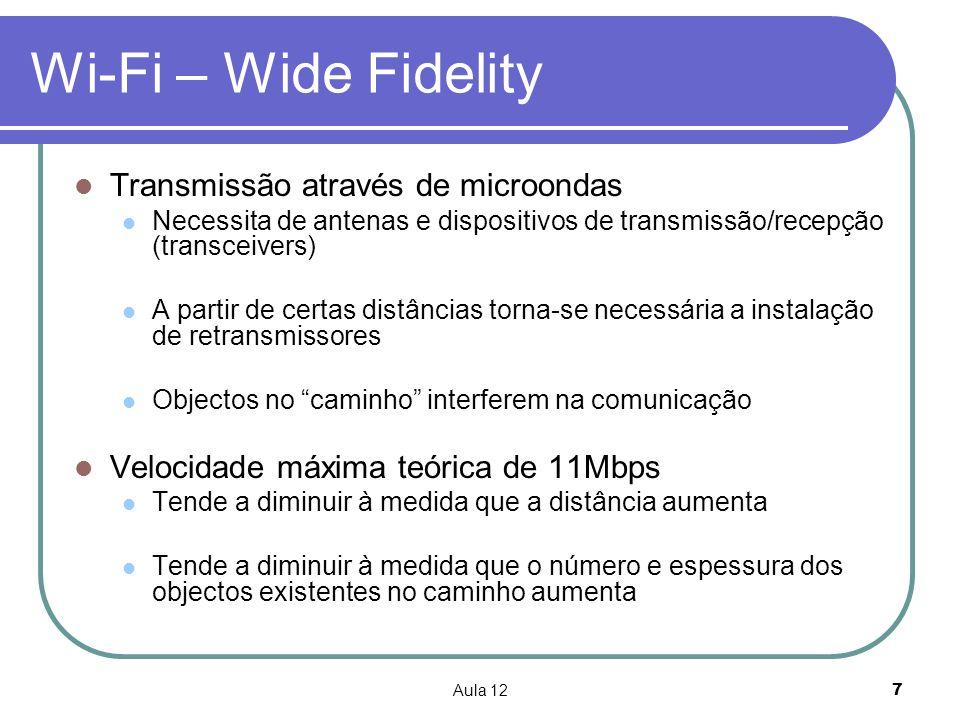 Aula 127 Wi-Fi – Wide Fidelity Transmissão através de microondas Necessita de antenas e dispositivos de transmissão/recepção (transceivers) A partir d