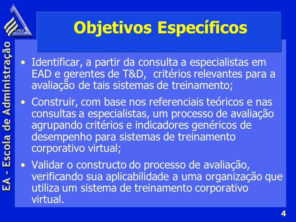 5 Referencial Teórico Perspectivas de Treinamento e Desenvolvimento Bohlander, Snell e Sherman (2003), Marras (2001) Estrutura e Avaliação de Treinamento e Treinamento Virtual Idem + Kirkpatrick (1998), Hack (2000), Tarouco (1999), Cardoso e Pestana (2001), Chaves (2000), Willis (1996?), Vianney et al.