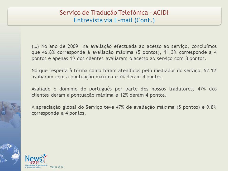 Março 2010 Serviço de Tradução Telefónica - ACIDI Entrevista via E-mail (Cont.) Serviço de Tradução Telefónica - ACIDI Entrevista via E-mail (Cont.) (