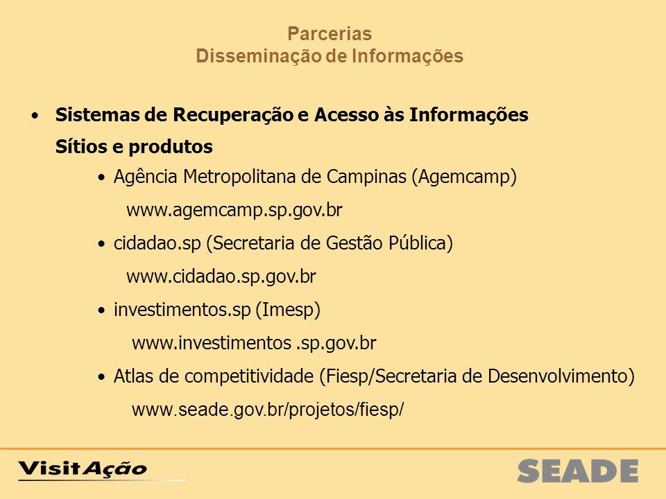 Parcerias Disseminação de Informações Sistemas de Recuperação e Acesso às Informações Sítios e produtos Agência Metropolitana de Campinas (Agemcamp) w