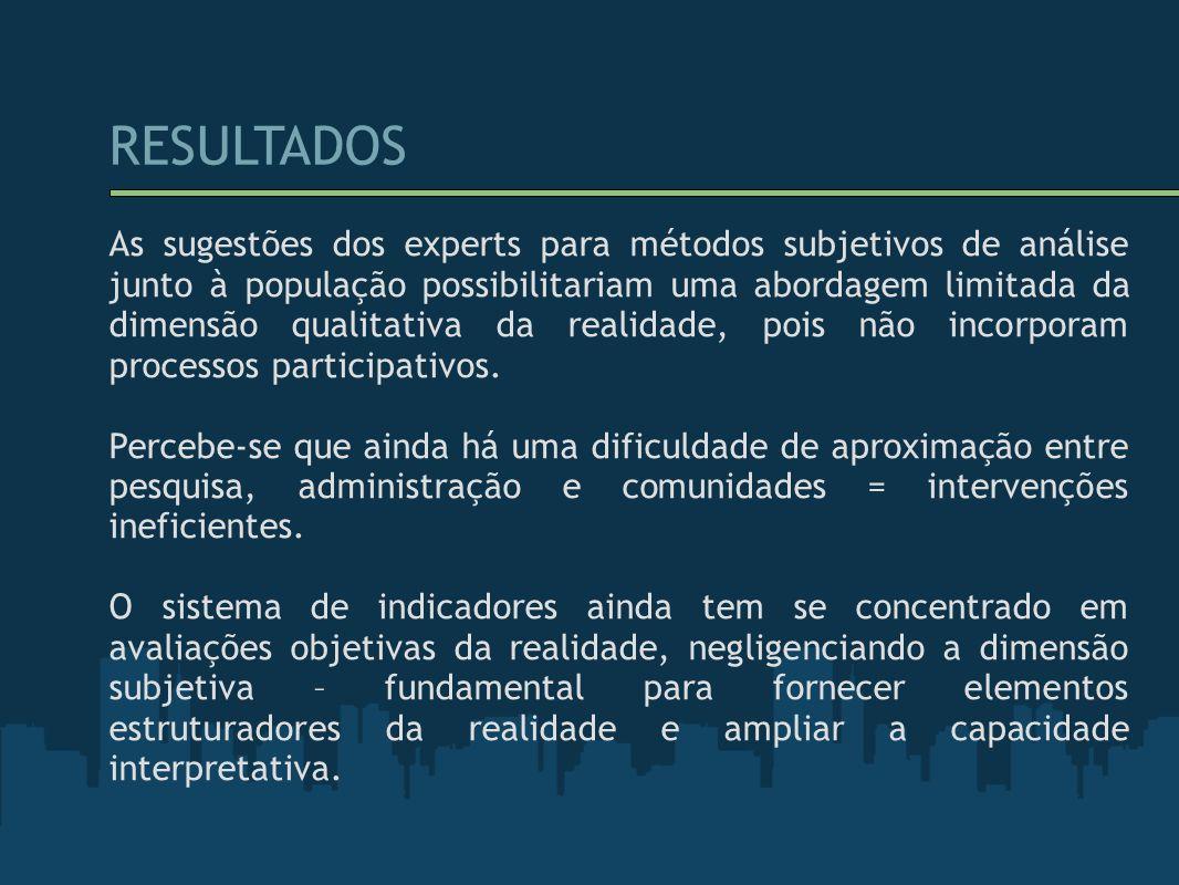 RESULTADOS As sugestões dos experts para métodos subjetivos de análise junto à população possibilitariam uma abordagem limitada da dimensão qualitativ