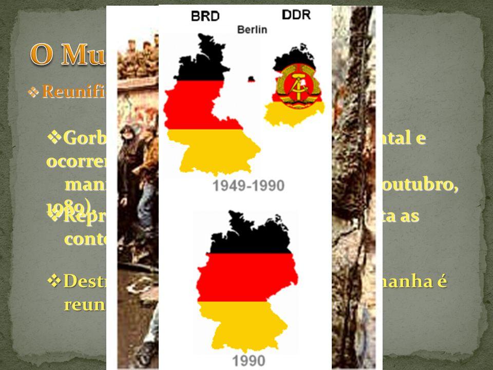 Reunificação da Alemanha (1990): Reunificação da Alemanha (1990): Gorbatchev visita a Alemanha Oriental e ocorrem Gorbatchev visita a Alemanha Orienta
