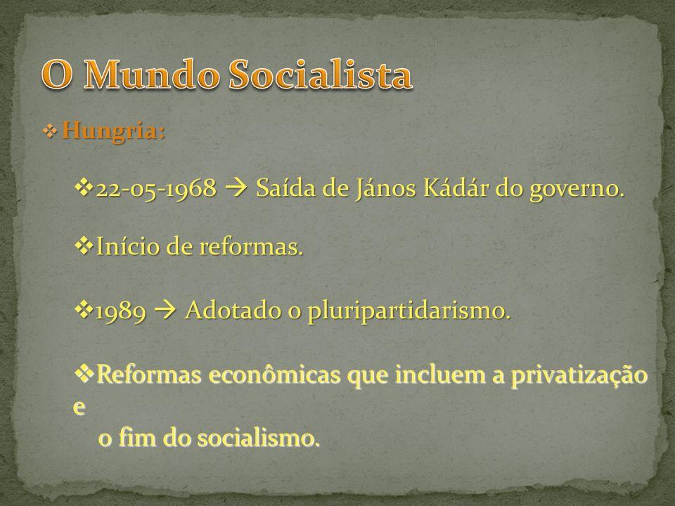 Hungria: Hungria: 22-05-1968 Saída de János Kádár do governo. 22-05-1968 Saída de János Kádár do governo. Início de reformas. Início de reformas. 1989