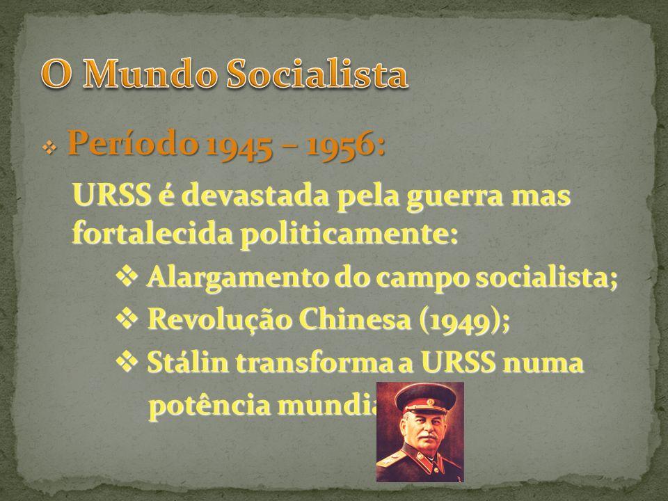 Período 1945 – 1956: Período 1945 – 1956: URSS é devastada pela guerra mas fortalecida politicamente: Alargamento do campo socialista; Alargamento do