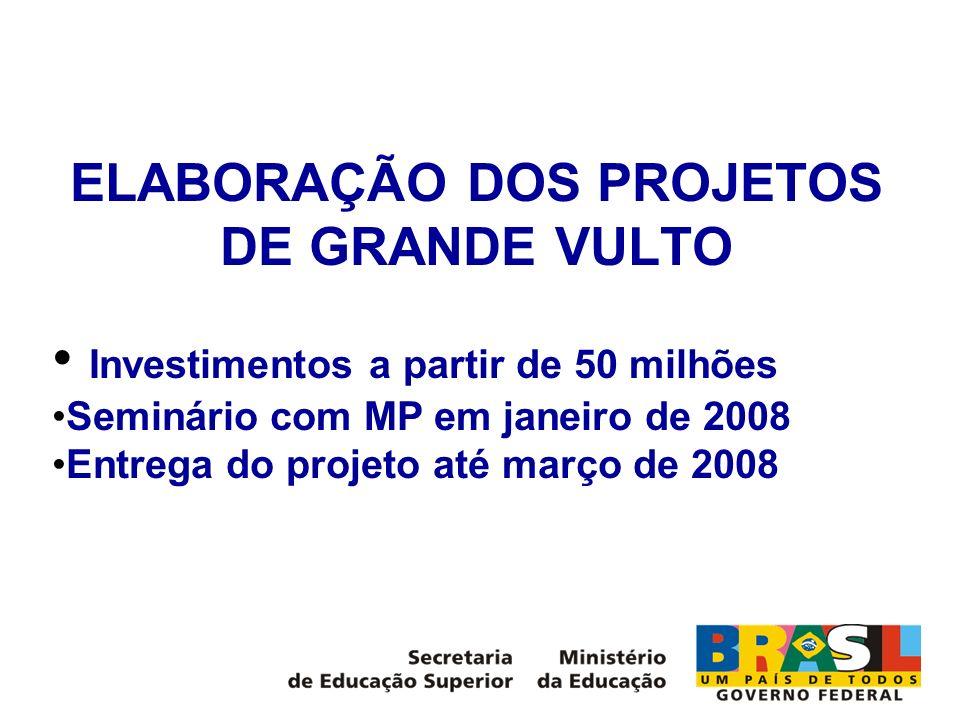 ELABORAÇÃO DOS PROJETOS DE GRANDE VULTO Investimentos a partir de 50 milhões Seminário com MP em janeiro de 2008 Entrega do projeto até março de 2008