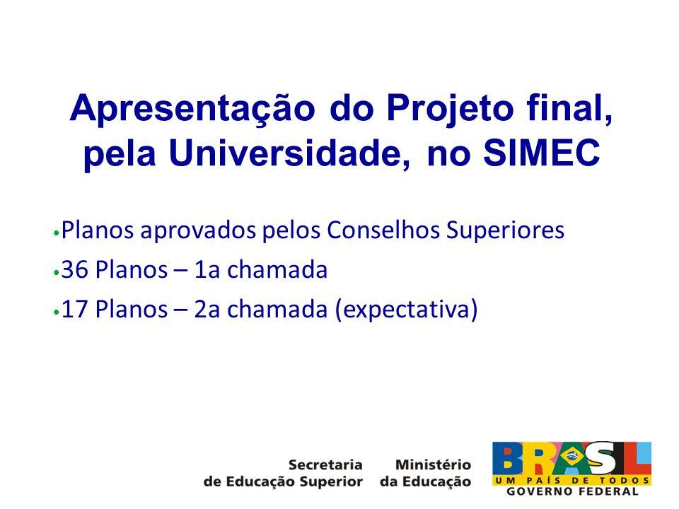 Apresentação do Projeto final, pela Universidade, no SIMEC Planos aprovados pelos Conselhos Superiores 36 Planos – 1a chamada 17 Planos – 2a chamada (