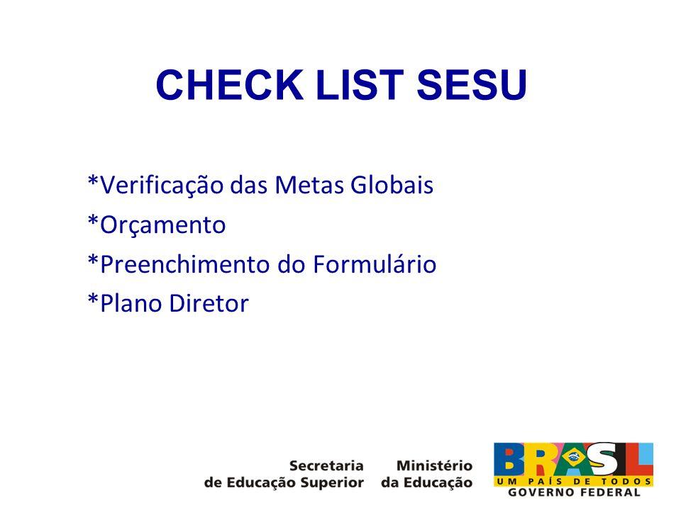 CHECK LIST SESU *Verificação das Metas Globais *Orçamento *Preenchimento do Formulário *Plano Diretor