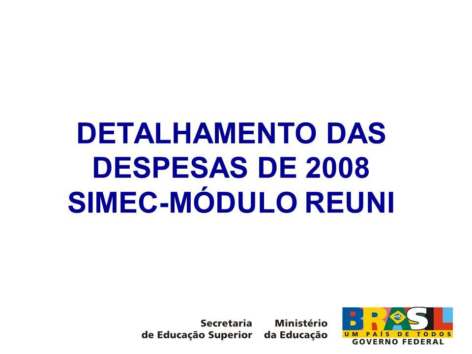 DETALHAMENTO DAS DESPESAS DE 2008 SIMEC-MÓDULO REUNI