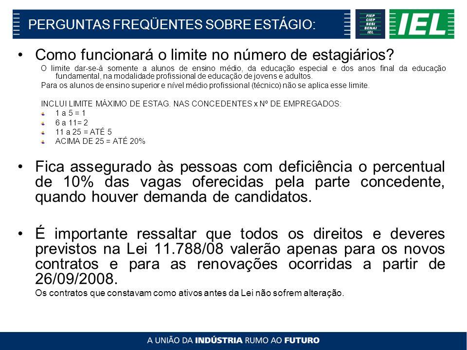 PERGUNTAS FREQÜENTES SOBRE ESTÁGIO: Como funcionará o limite no número de estagiários.