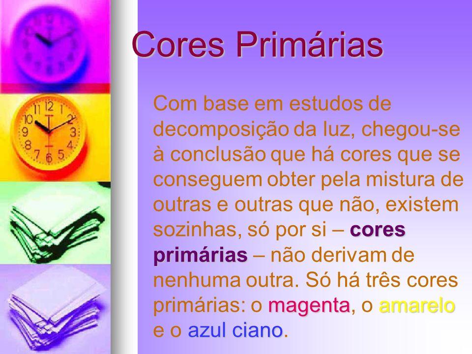 Cores Primárias Com base em estudos de decomposição da luz, chegou-se à conclusão que há cores que se conseguem obter pela mistura de outras e outras
