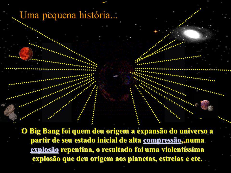 O Big Bang foi quem deu origem a expansão do universo a partir de seu estado inicial de alta compressão, numa explosão repentina, o resultado foi uma violentíssima explosão que deu origem aos planetas, estrelas e etc.
