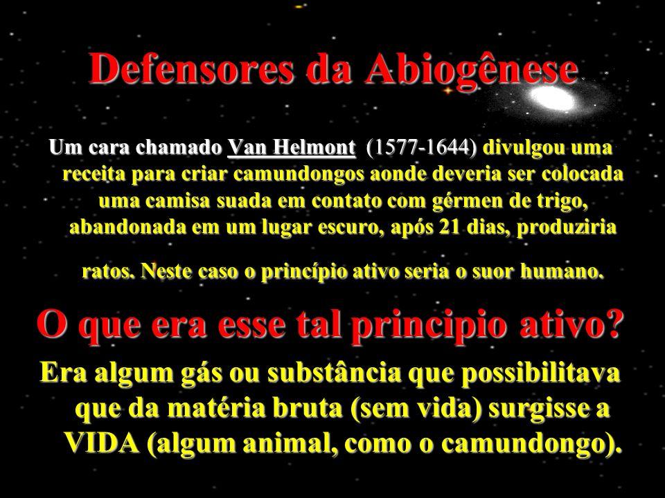Defensores da Abiogênese Um cara chamado Van Helmont (1577-1644) divulgou uma receita para criar camundongos aonde deveria ser colocada uma camisa suada em contato com gérmen de trigo, abandonada em um lugar escuro, após 21 dias, produziria ratos.