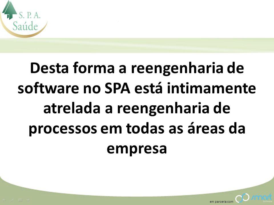 em parceria com Desta forma a reengenharia de software no SPA está intimamente atrelada a reengenharia de processos em todas as áreas da empresa