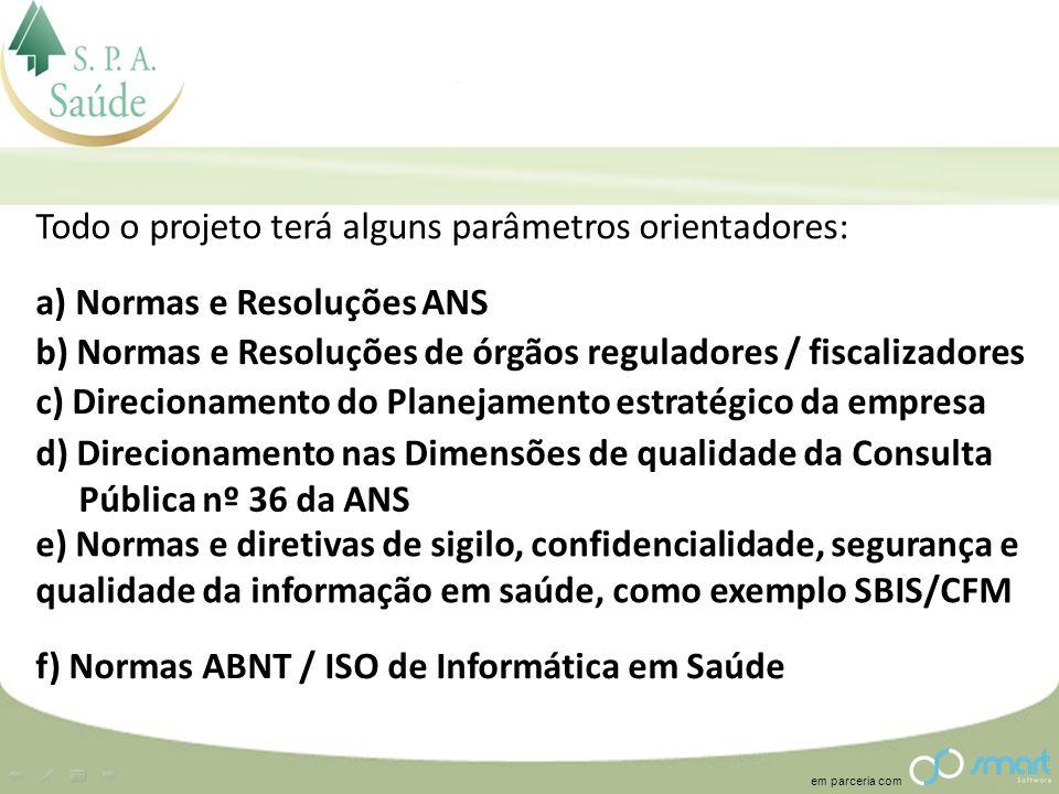 em parceria com Todo o projeto terá alguns parâmetros orientadores: a) Normas e Resoluções ANS b) Normas e Resoluções de órgãos reguladores / fiscaliz
