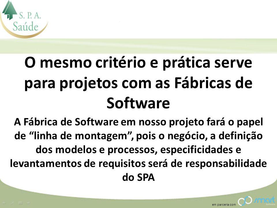 em parceria com O mesmo critério e prática serve para projetos com as Fábricas de Software A Fábrica de Software em nosso projeto fará o papel de linh