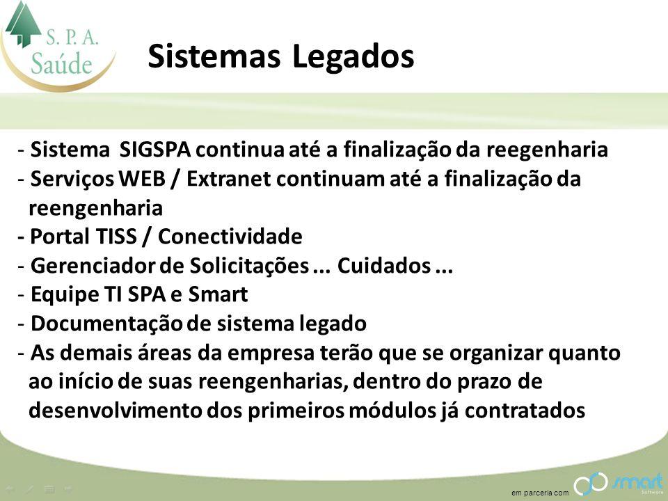 em parceria com Sistemas Legados - Sistema SIGSPA continua até a finalização da reegenharia - Serviços WEB / Extranet continuam até a finalização da r