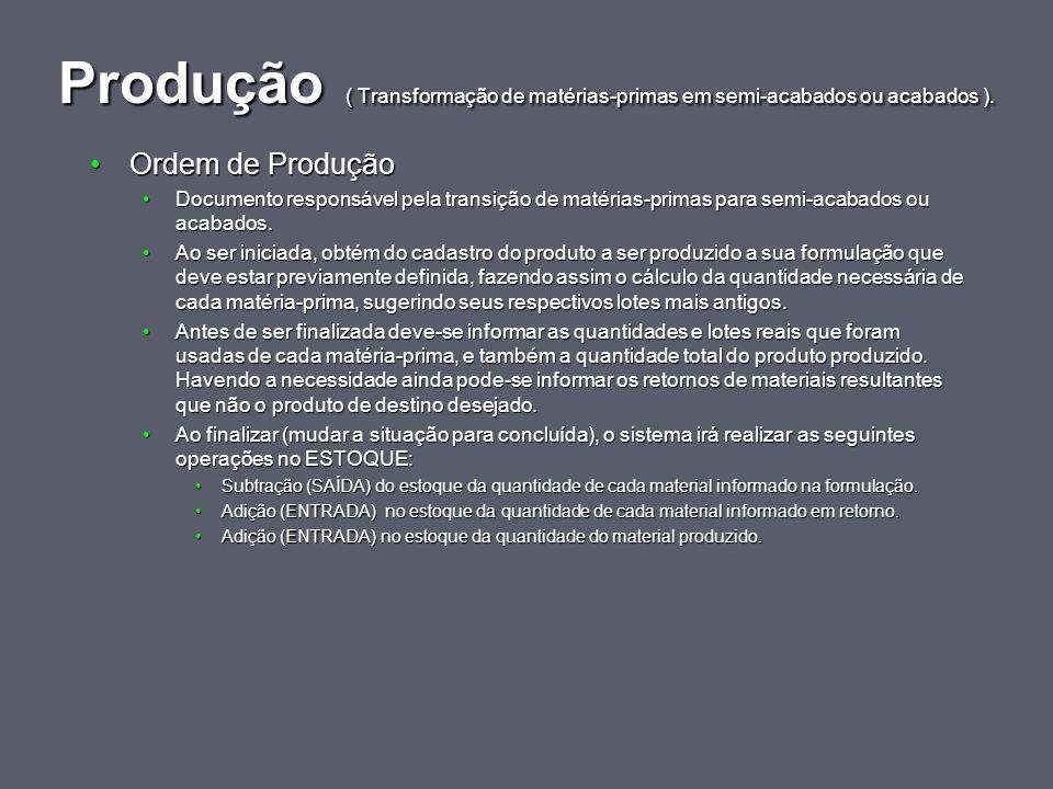 Produção ( Transformação de matérias-primas em semi-acabados ou acabados ). Ordem de ProduçãoOrdem de Produção Documento responsável pela transição de